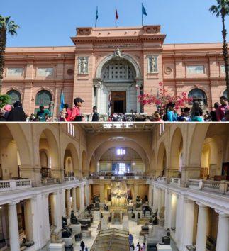 エジプト考古学博物館の外観と館内(Photo by 朝比奈)