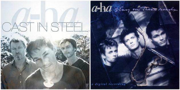 ポップな音楽で世界的人気を博したa-haの今(左)と昔(右)、ボーカルのモートンは来年60歳に。