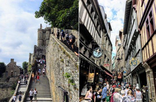 モンサンミッシェルへの坂道と階段(Photo by 朝比奈)