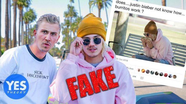 まんまと騙された多くのメディア。(画像:YouTube『Yes Theory:We Fooled the Internet w/ Fake Justin Bieber Burrito Photo』のサムネイル)