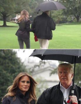 トランプ大統領の無意味な相合傘。メラニア夫人など濡れても構わない?