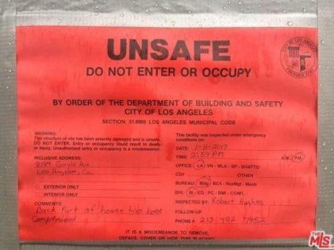 「立ち入りも居住も禁止」とロサンゼルス市当局