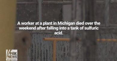 ミシガン州の工場で硫酸溶液の貯蔵タンクに作業員が転落
