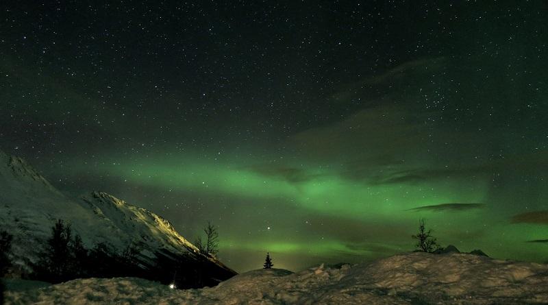 ついにノルウェーで生のオーロラを鑑賞(Photo by 朝比奈)