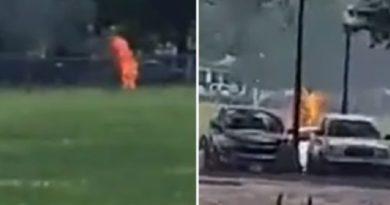 画像:『METRO』Man sets himself on fire and is engulfed with flames by White House lawn(Pictures: Twitter)