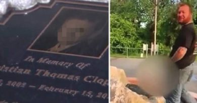画像:『METRO』'Scumbag' laughs as he pees on memorial for boy, 9, who died of cancer(Pictures: ABC5)