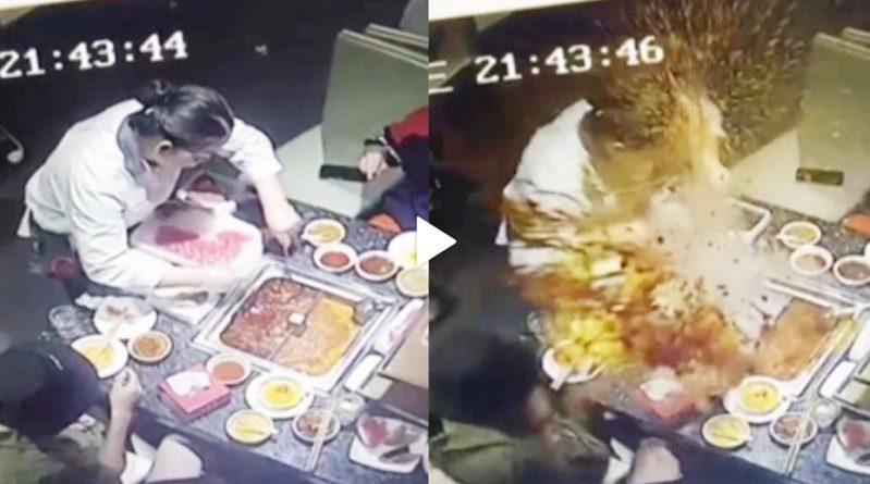 火鍋店で客が鍋にライター落とす すくおうとしたウェイトレス爆発で大やけど 中国