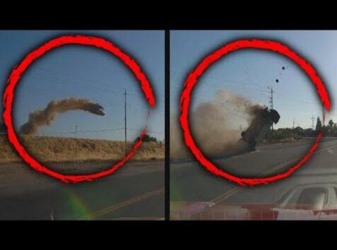 大きくダイブした車は前転を繰り返し大破 アクション映画ばりの事故映像が車載カメラに 米